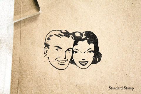 Happy Retro Couple Rubber Stamp