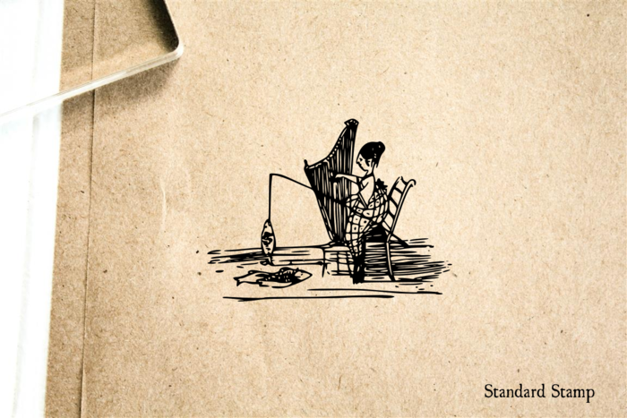 Harpist Fishing Rubber Stamp