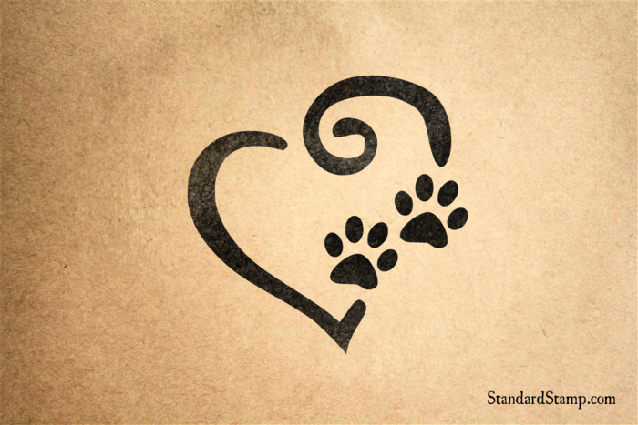 Heart with Paw Prints Rubber Stamp