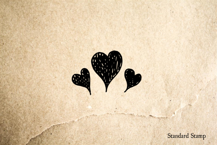 Three Hearts Rubber Stamp