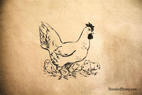 Hen and Chicks Rubber Stamp