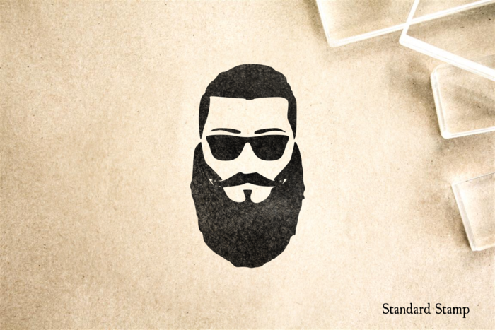 Beard Face Rubber Stamp