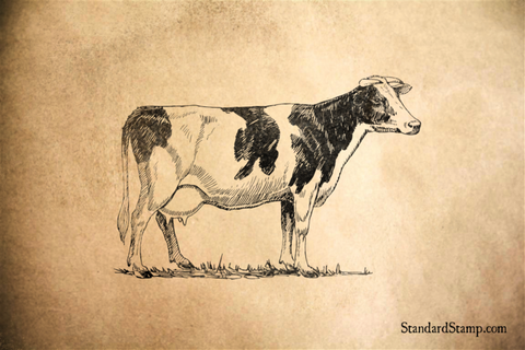 Holstein Cow Rubber Stamp