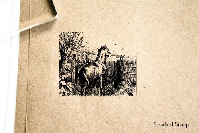 Horse in Pasture Rubber Stamp