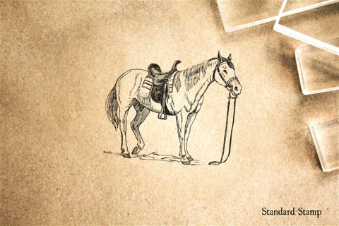 Horse with Saddle Rubber Stamp