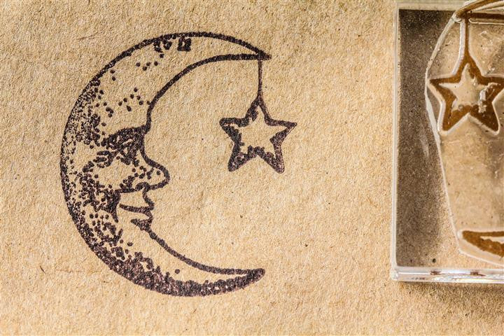 Moon, Man in the Moon Crescent #2 with Star 2 x 2 Inch Stamp