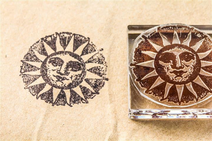 "Sun, with Smiling ""Man in the Sun"" #1 - 2 x 2 Inch Stamp"