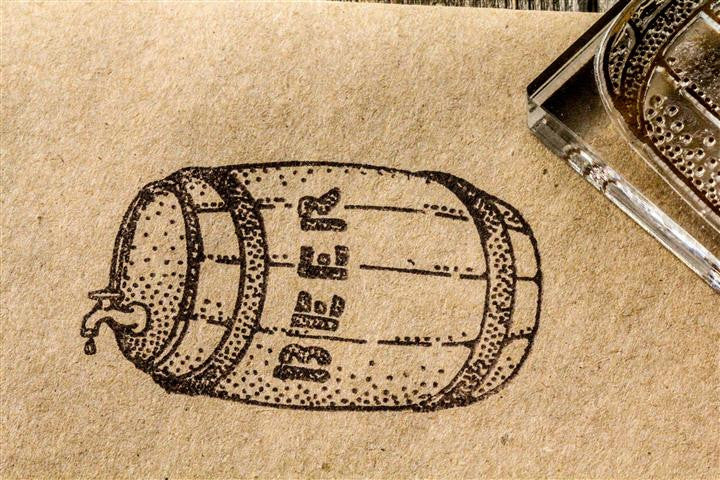Beer Barrel, Classic Wooden - 3 x 2 Inch Stamp