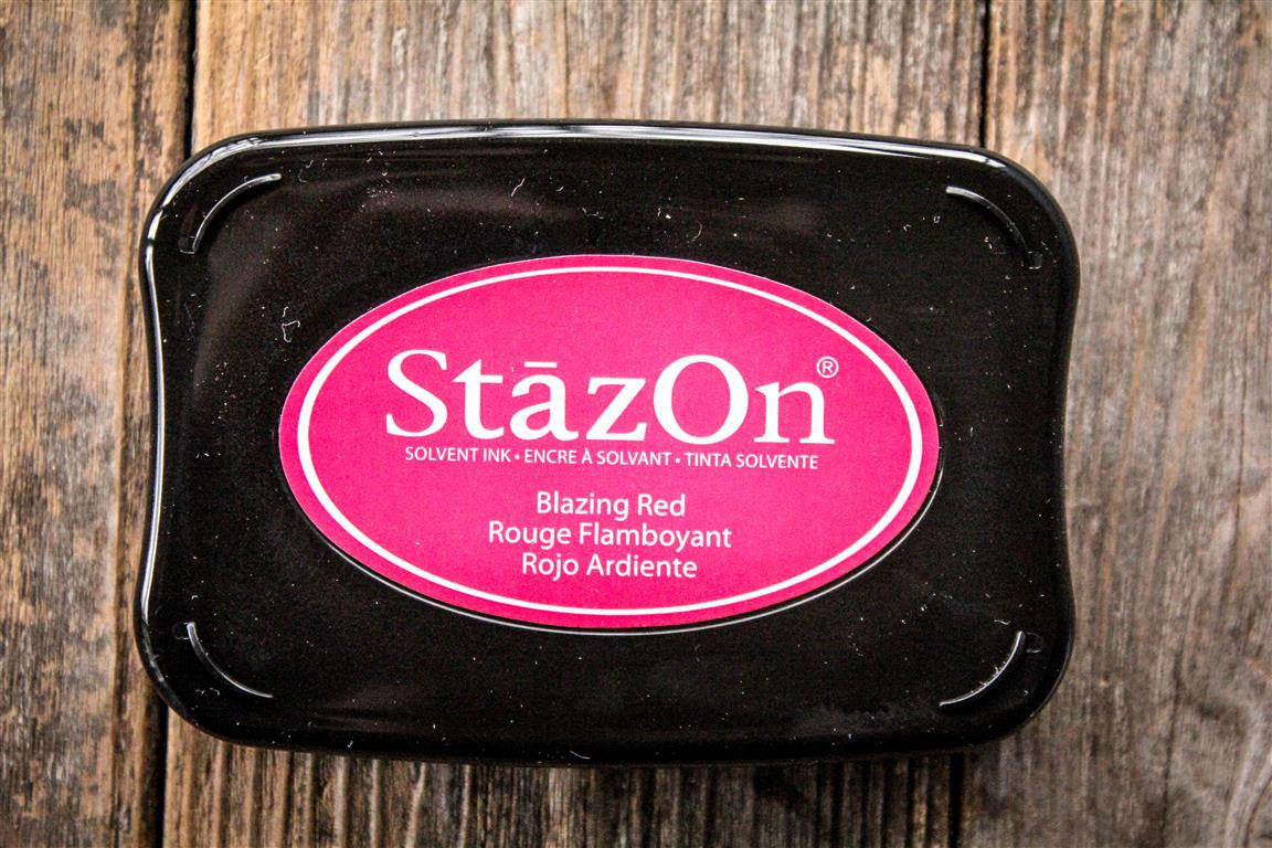 "StazOn Blazing Red Ink Pad, 3"" x 2"""
