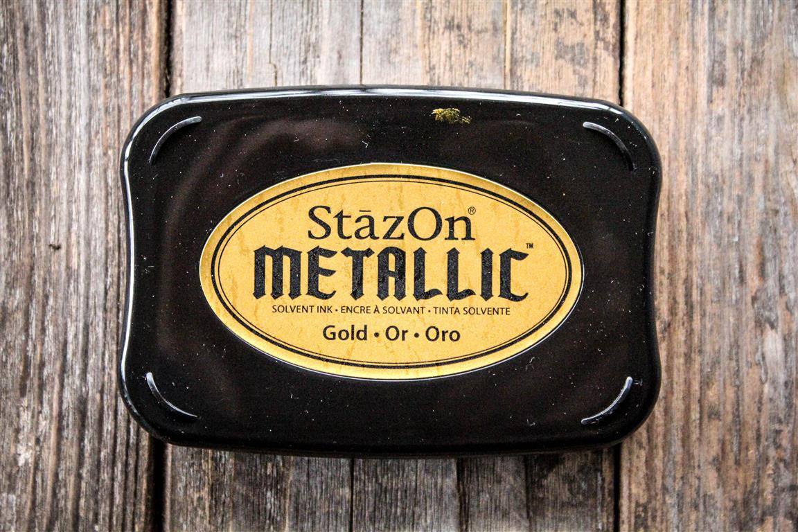 "StazOn Metallic Gold Ink Pad, 3"" x 2"" Kit"