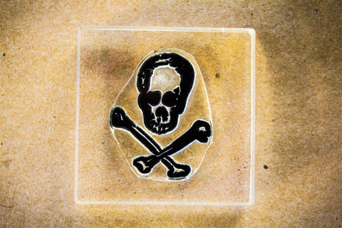 Skull and Crossbones Truly Stylish 2 x 2 Inch Stamp