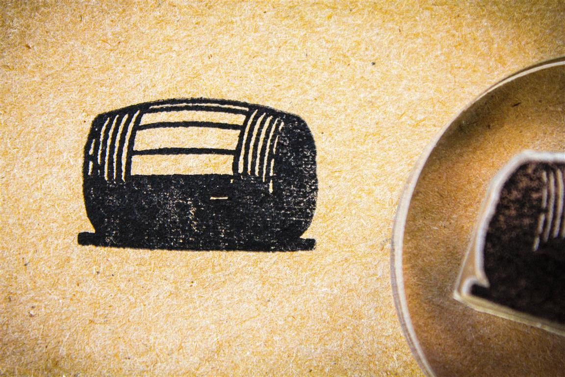 Beer Barrel, Classic Wooden - 2 x 2 Inch Stamp