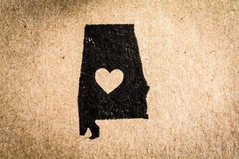 Alabama with Heart 2 x 2 Inch Stamp