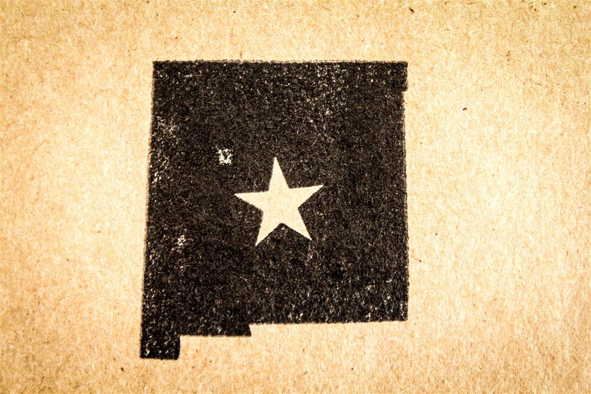 New Mexico with Star 2 x 2 Inch Stamp