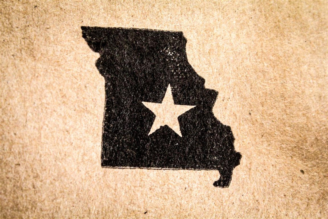 Missouri with Star 2 x 2 Inch Stamp