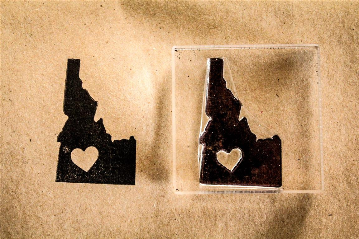 Idaho with Heart 2 x 2 Inch Stamp
