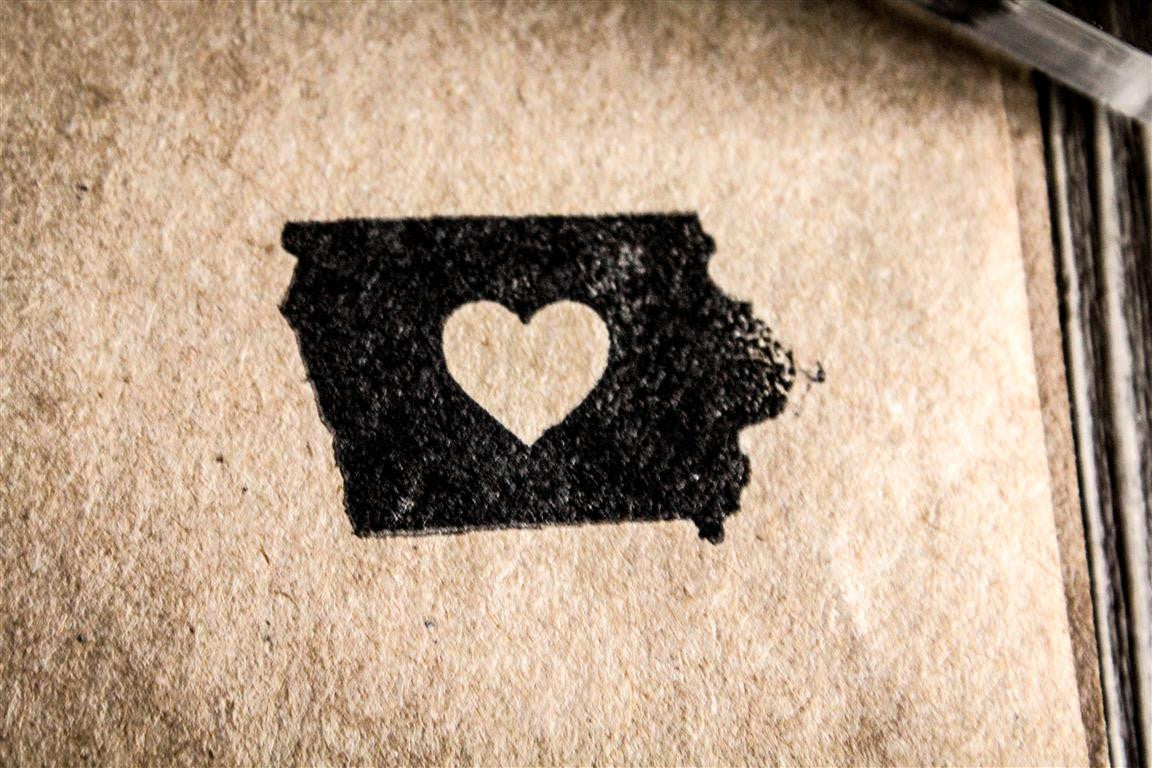 Iowa with Heart 2 x 2 Inch Stamp
