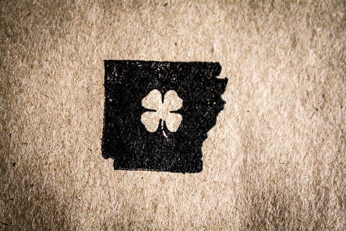 Arkansas with Shamrock 1 x 1 Inch Stamp