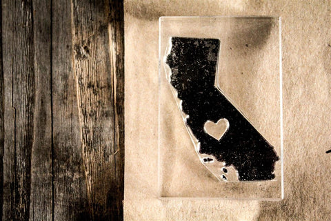 California with Heart 2 x 3 Inch Stamp