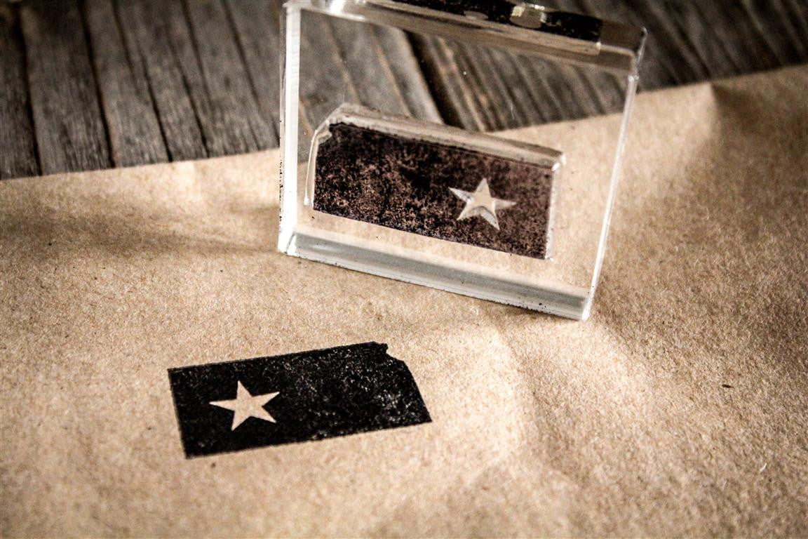 Kansas with Star 2 x 2 Inch Stamp