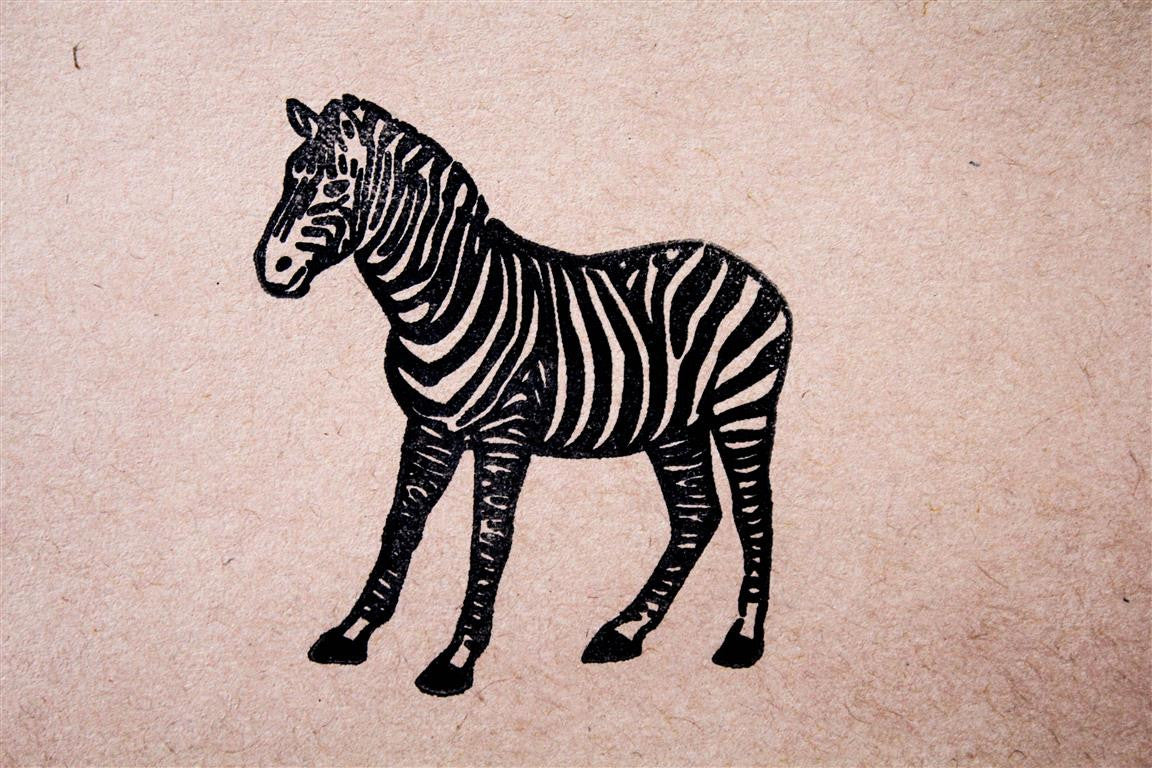 Reluctant Zebra 2 x 2 Inch Stamp