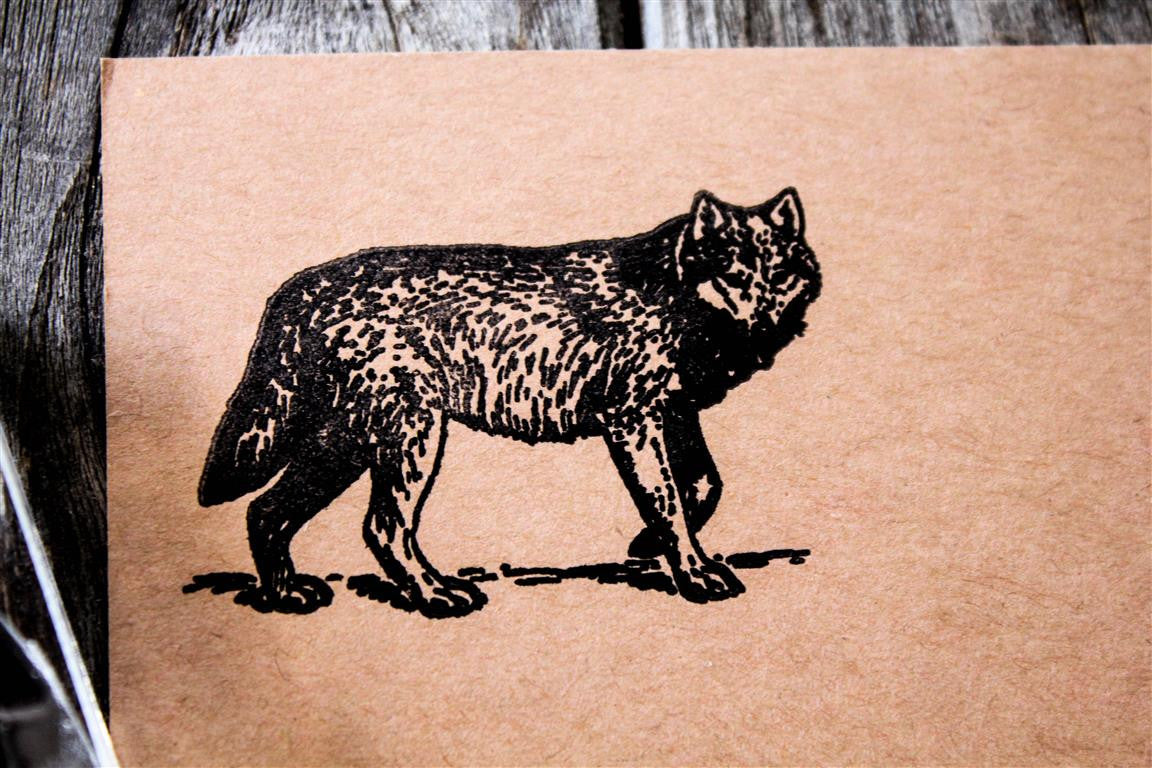Wolf Walking 2 x 2 Inch Stamp