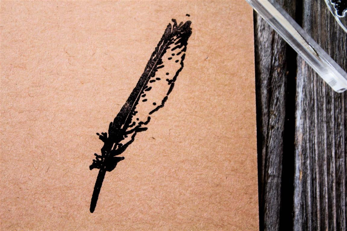 "Feather-Quill Pen 1""x2"" Stamp"