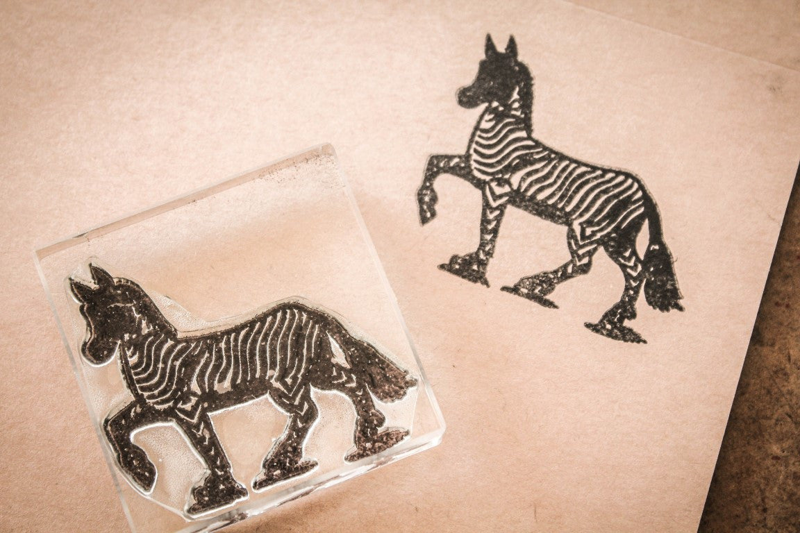 Zebra Walking - 3 x 2 Inch Stamp