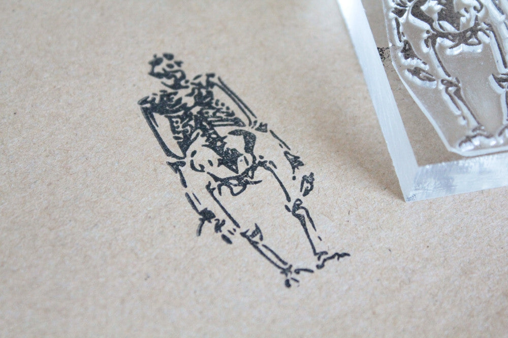 Gorilla Skeleton 2 x 2 Inch Stamp