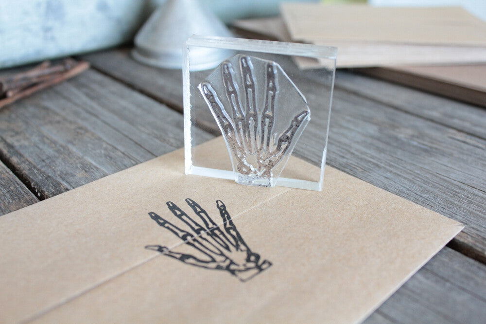 Hand Skeleton 2 x 2 Inch Stamp