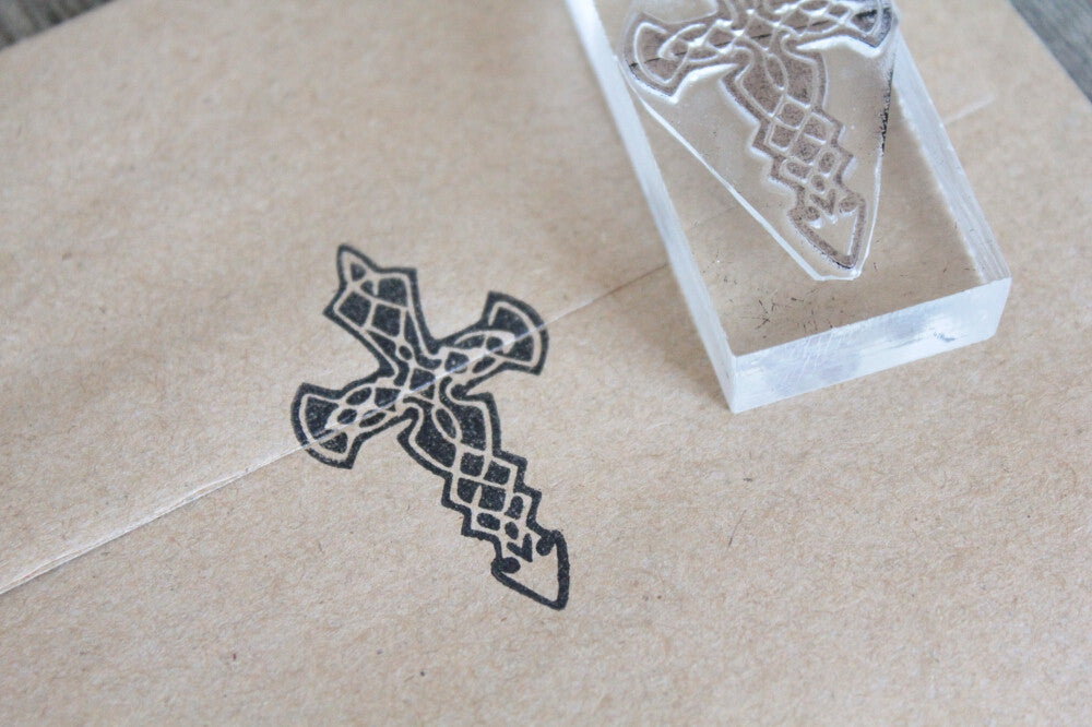 "Cross, Celtic and Ornate Gothic #1 - 2"" x 1"" Stamp"