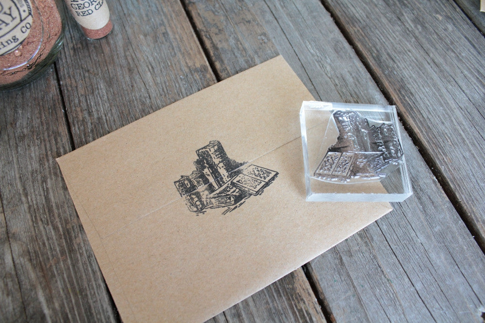 Books and Library 2 x 2 Inch Stamp