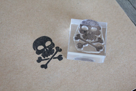 Human Skull and Crossbones 2 x 2 Inch Stamp