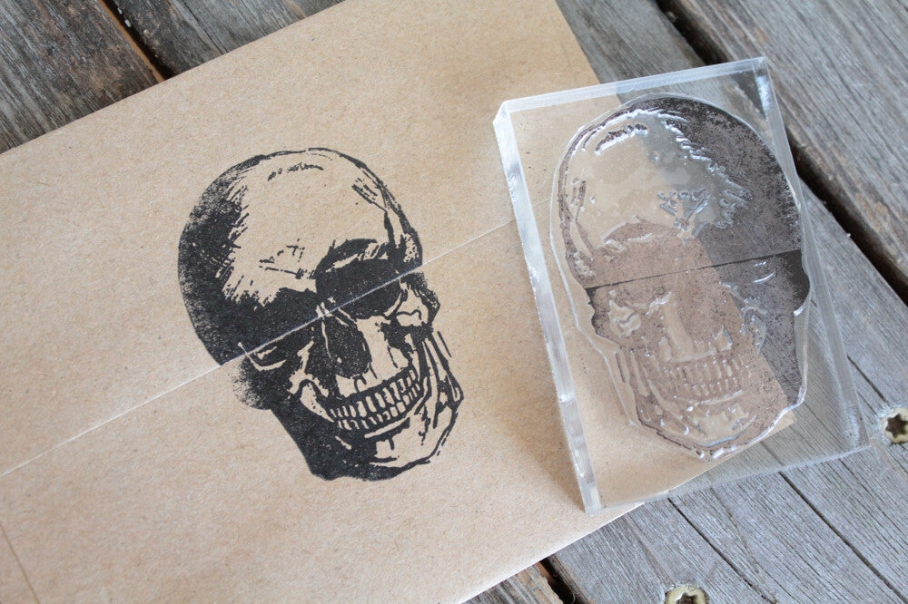 Human Skull Frontal View Mouth Closed 2 x 2 Inch Stamp