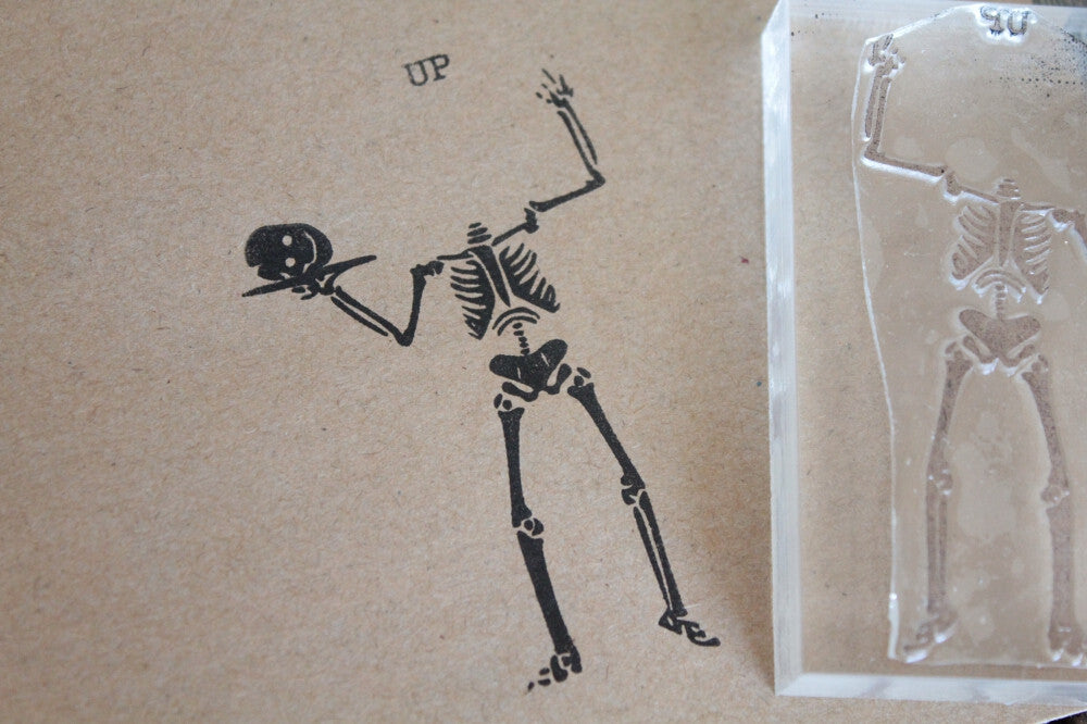 Human Skeleton with Head on a Platter 2 x 3 Inch Stamp
