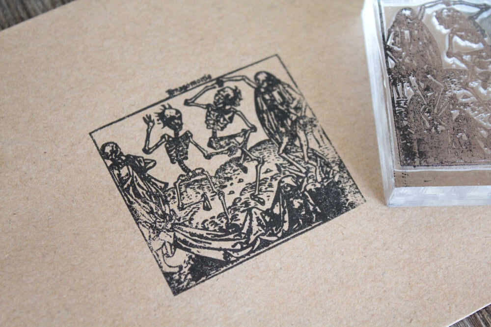 Skeletons Dancing Vintage 2 x 2 Inch Stamp
