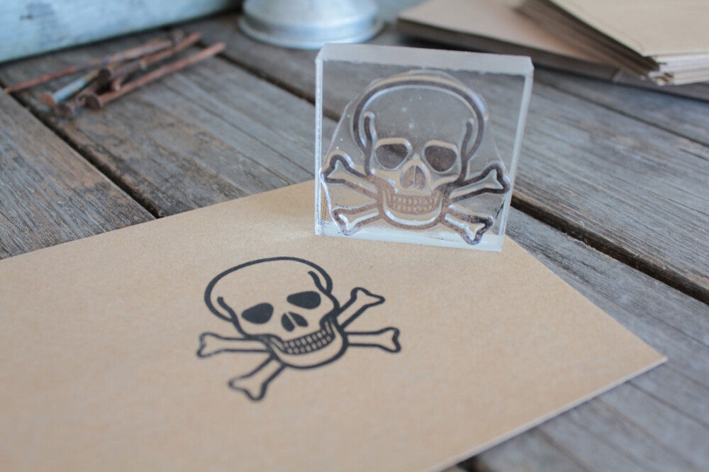 Human Skull and Crossbones Bold Outline 2 x 2 Inch Stamp