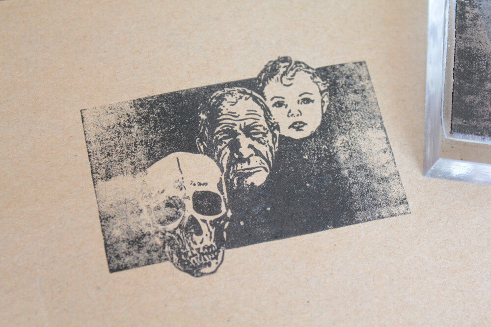 Human Skull Age Progression of Man 2 x 3 Inch Stamp