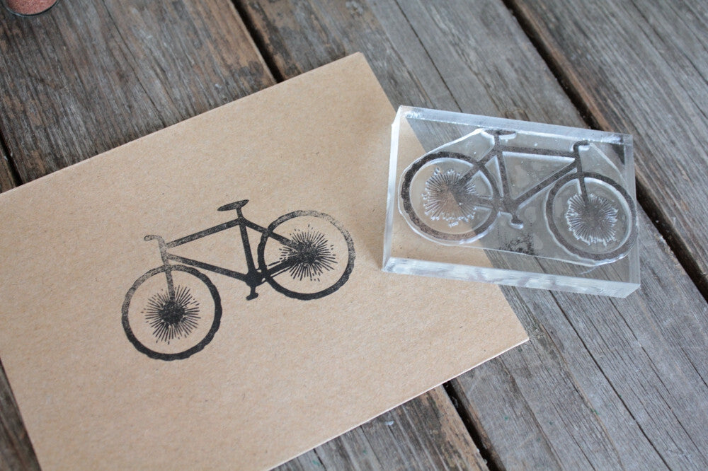 Bicycle with Reverse Handles 2 x 3 Inch Stamp
