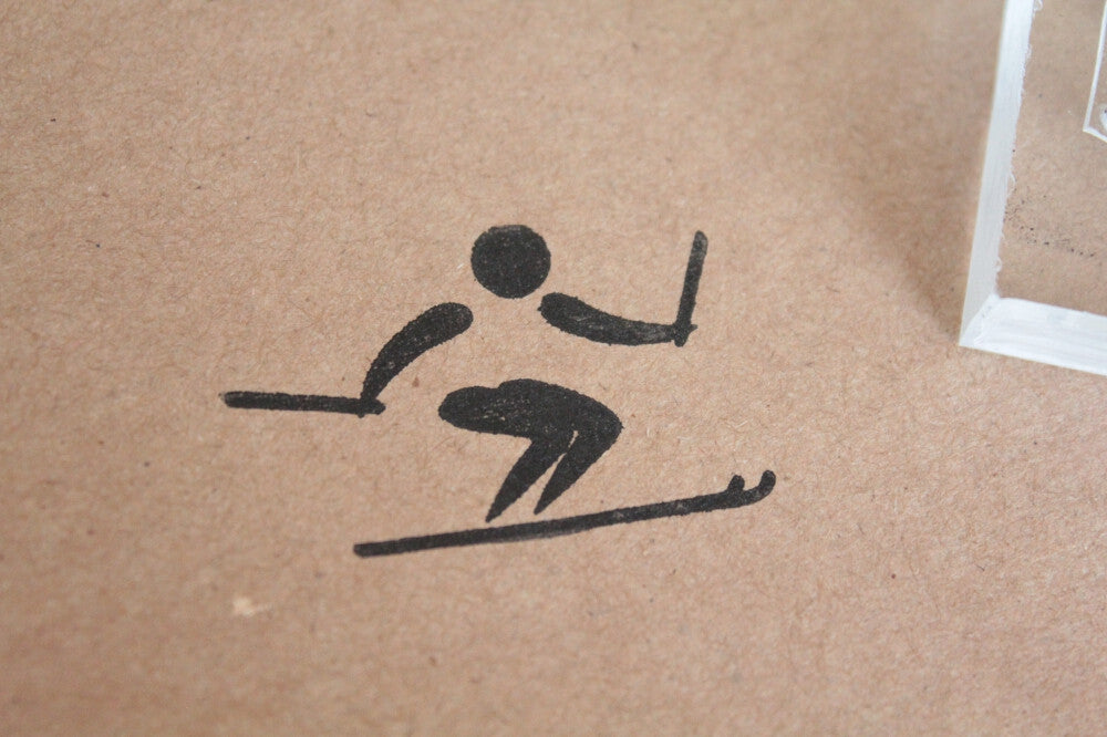 Skiing Freestyle Sign 2 x 2 Inch Stamp