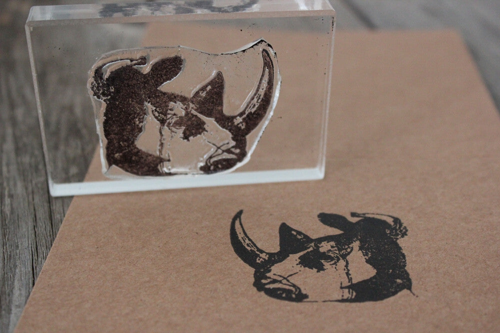 Rhino Head 2 x 3 Inch Stamp