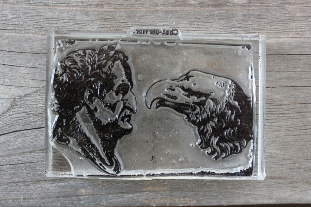"Eagle vs Man 2""x3"" Stamp"