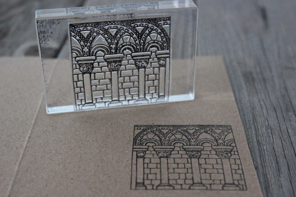 Corinthian Columns with Brick Wall 2 x 2 Inch Stamp