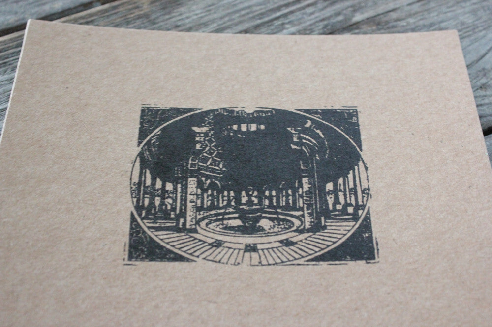 Temple Fountain 2 x 3 Inch Stamp