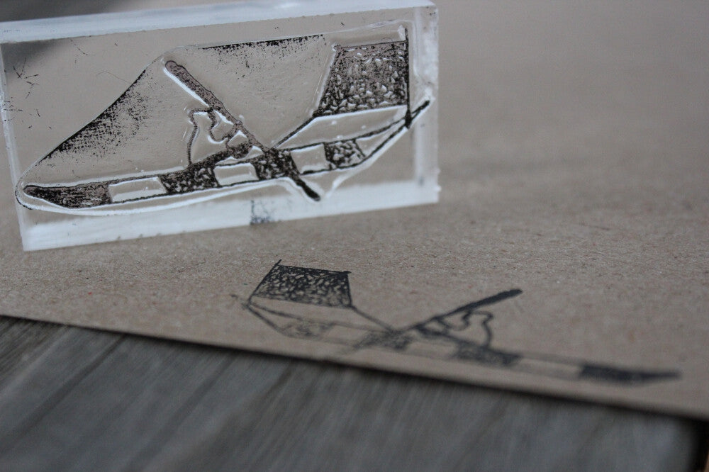 Canoe with Sail 2 x 3 Inch Stamp