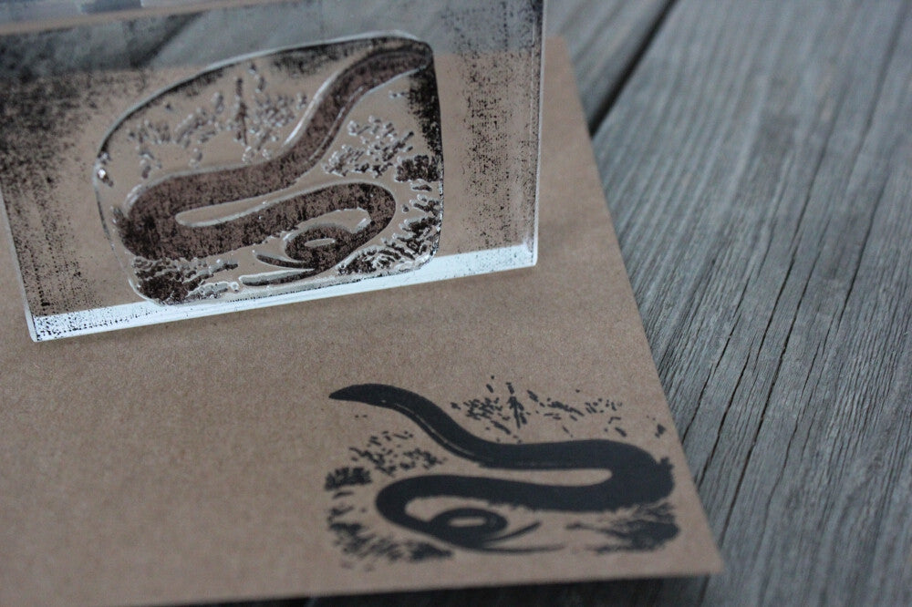 Snake on Ground with Raised Head 2 x 3 Inch Stamp
