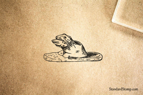 Indian Otter Carving Rubber Stamp
