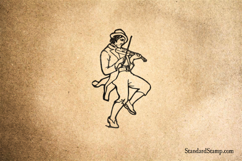 Irish Fiddler Rubber Stamp