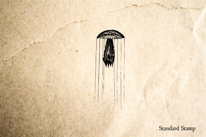Jellyfish Dangling Tentacles Rubber Stamp