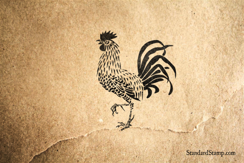 King Rooster Rubber Stamp